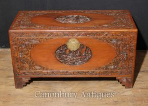 Antiguo chino tallado de madera de alcanfor caja de tronco de equipaje de pecho