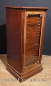 Antique Victorian Walnut Espejo Gabinete Interiores Pecho Salvage