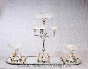 English Plato de plata Boulton Centerpiece Plato de vidrio de Epergne Plato de la querube