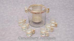 Plato de plata ruso Vodka Caviar Serving Set Oso Shot Glass