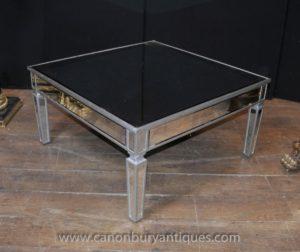 Mesa de centro con espejo de cristal Art Deco
