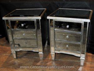 Par Art Deco Cómodas con espejo para cama Mesas Mesas de noche