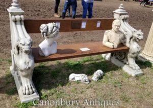 Banco alado del asiento de jardín del león de piedra
