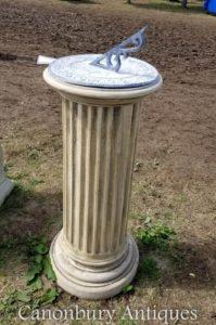 Tiempo de arte de jardín sundial dórico piedra clásica