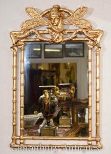 Art Nouveau dorado muelle espejo libélula de cristal