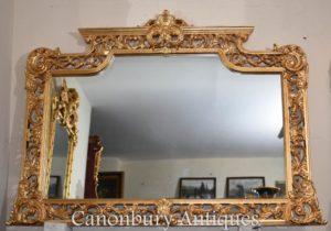 Espejo de manto dorado Chippendale inglés grande