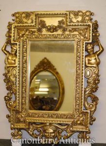 Inglés Chippendale Gilt Pier Mirror Atlas Satyr