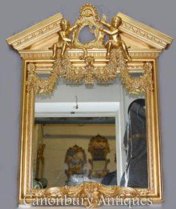 Inglés Palladian Gilt Pier Mirror Cherubs Neo Classical