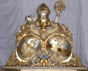 Mano dorada tallada rusa escudo de armas Escultura águila