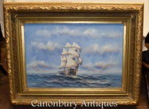 Pintura al óleo en inglés Ship Sea Scape Maritime Art
