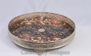 Bandeja de plata victoriano bandeja de servir Faux Tort