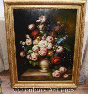 Gran Victorian Flower Display Naturaleza muerta Pintura al óleo