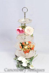 Par de Silver Plate Cake Stands 5 Tier Victorian Afternoon Tea