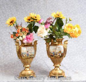 Par Dresden Jarrones de porcelana dorados Urnas Clásica