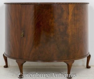 Antique Side Cabinet-Demi Lune Mahogany Chest