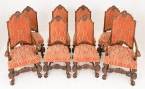 Juego de sillas de comedor de roble - Antigüedades de granja talladas en Carole 1870
