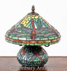 Lámpara de mesa Tiffany Art Nouveau - Libélula de luz de vitral