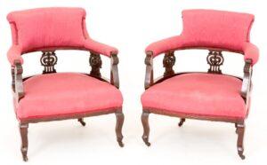 Par de brazos de sillas de bañera victoriana Circa 1890