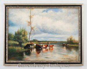 Pintura al óleo victoriana Pastoral Río Escena Paisaje Constable