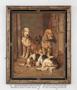 Retrato de pintura al óleo de caza de perro - Arte de caza de perro de aguas inglés victoriano