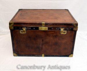 Maleta de cuero vintage - Caja de mesa de centro Steamer Trunk