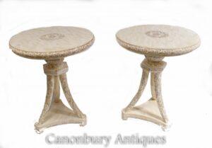 Pareja de mesas auxiliares talladas en chino - Lados ocasionales Interiores asiáticos