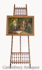 Pintura al óleo judío y rabino retrato antiguo arte judaico yiddish 1930