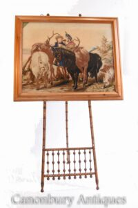 Tapiz victoriano de encaje de aguja Highland Stag Hunt Landseer